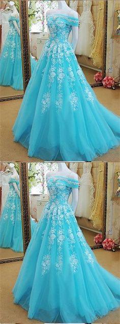 New Light Blue A-line Off Shoulder White Lace Appliqués Long Evening Dress #prom #dresses #longpromdress #promdress #eveningdress #promdresses #partydresses #lightbluepromdresses #offtheshoulderpromdresses #tullepromdresses
