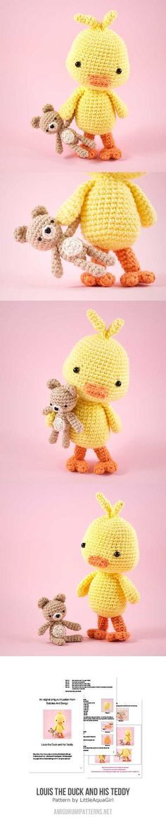 Louis The Duck And His Teddy Amigurumi Pattern
