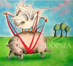 Hippo and Geese Card by Zoopsia on Etsy