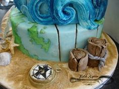Marine Inspired 50th Birthday Cake 50th Birthday, Birthday Cake, Fab Cakes, Celebration Cakes, Custom Cakes, Spoon, Custom Design, Decorative Boxes, Inspired