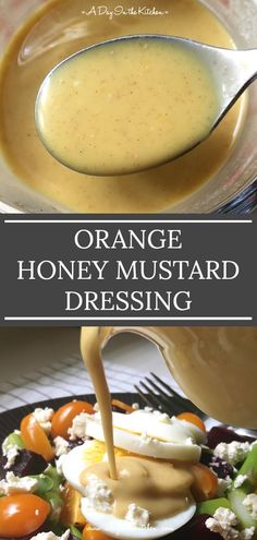 Sweet and tangy, this orange honey mustard dressing is delicious on salads, as a dip for chicken nuggets, or drizzled over cooked chicken or fish. 5 ingredients and 5 minutes is all you need to whip up this versatile dressing! recipes with chicken Cooked Chicken, How To Cook Chicken, A Food, Food And Drink, Orange Salad, Orange Orange, Salad Dressing Recipes, Salad Dressings, Salad Recipes