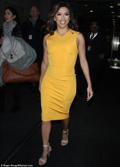 Not so mellow yellow:Leaving The Today Show studios, the actress, 40, looked incredible as she showcased her enviable physique to perfection in a striking, form-fitting yellow dress