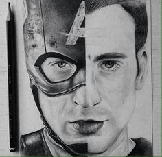 Chris Evans Captain America, Stucky, Cool Art, Avengers, Marvel, Drawings, Sketch, Design, Sketch Drawing