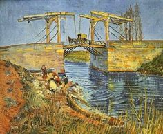 The artwork fine art print and hand painted oil reproduction of the painting The Langlois Bridge at Arles, oil painting of Vincent van Gogh we deliver as art print on canvas, poster, plate or finest hand made paper. Art Van, Van Gogh Art, Claude Monet, Vincent Van Gogh, Van Gogh Pinturas, Georges Seurat, Most Famous Paintings, Famous Art, Van Gogh Paintings