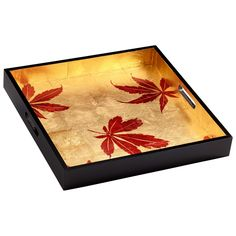 Tray Black/Gold red leaf  fall