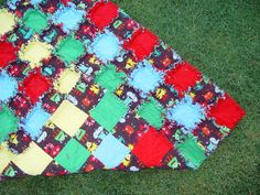 Monsters Crib Rag Quilt Blanket Baby or Toddler  Ready by AuntBugs, $78.50