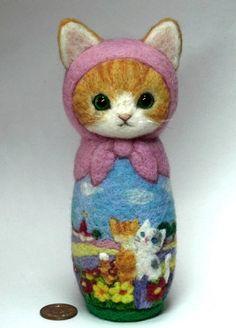 "LOVE!! <3 Needle felted babushka cat a/k/a/ Russian Matryoshka doll, 8"" high. ""It's a small world"" by Japanese felting artist Rika Fujimoto."