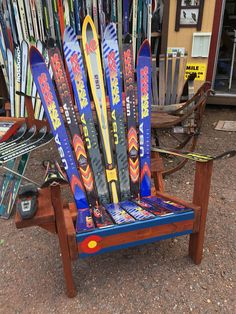 Adirondack Ski Chair with Colorado flag front board