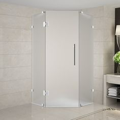 "Neoscape 42"" x 42"" x 72"" Completely Frameless Neo-Angle Hinged Door Shower Enclosure, Frosted Glass"