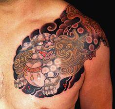 Karashishi tatoo on chest, by Chris Garver. Geisha Tattoos, Irezumi Tattoos, Japanese Tiger Tattoo, Japanese Dragon Tattoos, Japanese Sleeve Tattoos, Koi Dragon Tattoo, Koi Fish Tattoo, Snake Tattoo, Foo Dog Tattoo