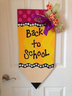 Back to School Door Hanger, Pencil Wreath, Fall Wreath, Wooden Door Sign, Teacher Gift by DoorDecorbyKristin on Etsy
