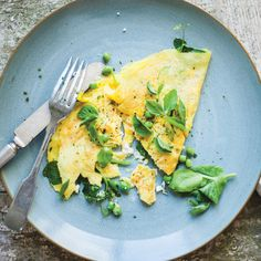 spring pea and pea shoot omelet