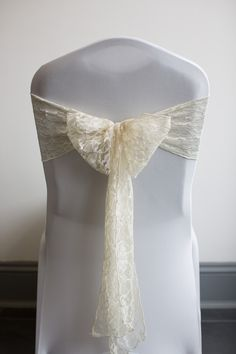 Ivory lace chair cover sash