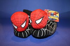 NEW Spiderman House Shoes Socktop Slippers Red/Black 5-6 7-8 Boys Childs Kids