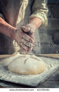 man Baker and his hands over the bread from whole wheat flour (to oven). Whole Wheat Flour, His Hands, Rustic Style, Oven, Bread, Stock Photos, Country Style, Kitchen Stove, Breads