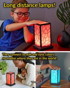 These Long Distance Friendship Lamps Will Sync Up Wherever You Are In The World. They connect to wifi and will match colors to whatever you set it to!