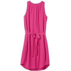 Banana Republic Women Factory Sleeveless Tie Waist Shirtdress ($34) ❤ liked on Polyvore featuring dresses, banana republic dresses, long shirt dress, pink shirt dress, pink dress and banana republic