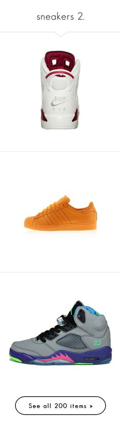 """""""sneakers 2."""" by yeauxbriana ❤ liked on Polyvore featuring sneakers, shoes, adidas, bright orange shoes, adidas sneakers, bright orange sneakers, bright colored sneakers, jordans, nike and zapatos"""