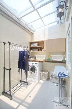 53 Laundry Design Ideas With Drying Room That You Must Try - Outdoor Laundry Rooms, Small Laundry Rooms, Laundry In Bathroom, Laundry Closet, Basement Laundry, Home Room Design, Interior Design Living Room, House Design, Design Interior