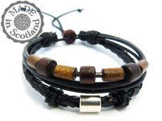 Mens Black Leather Beaded Tribal Surfer Bracelet by ShineandSpark, $7.50