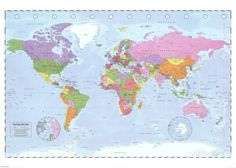 World Map (Political, Time Zones) Posters hos AllPosters. 139x100 cm