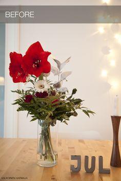 Joulunpunaista maljakossa Glass Vase, Table Decorations, Furniture, Home Decor, Decoration Home, Room Decor, Home Furniture, Interior Design, Home Interiors