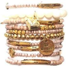 ハートブレスレットセット ❤ liked on Polyvore featuring jewelry and bracelets