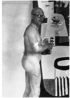 Le Corbusier painting nude. The huge scar on his thigh came from an injury caused by the propeller blade of a yacht that cut him as he was swimming in the Mediterranean in Monaco.
