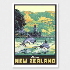 Akaroa Art Print (Vintage Travel Series) by Ross Murray Tourism Poster, Travel Posters, Akaroa New Zealand, Poster Prints, Framed Prints, Art Prints, Craft Beer Labels, Nz Art, Ship Art