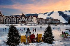 Blue Mountain Village resort Collingwood Ontario Canada - go here twice a year. Our fave place away from home Wedding Venues Ontario, Ontario Cottages, Happy Canada Day, Mountain Photos, Mountain Village, Mountain Resort, Blue Mountain, Cool Landscapes, Winter Activities