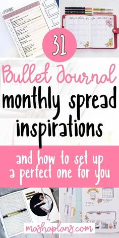 Check out 31 Bullet Journal monthly spreads to get inspiration for your next monthly Bullet Journal setup. Plus learn about different types of monthly logs and how to pick the one that would work best for you. Bullet Journal Reading Log, Bullet Journal Monthly Spread, Bullet Journal Printables, Bullet Journal How To Start A, Journal Template, Bullet Journal Junkies, Bullet Journal Layout, Bullet Journal Inspiration, Bullet Journals