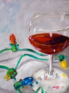 Christmas Red, wine,glass, christmas lights, painting by artist Delilah Smith Christmas Canvas, Christmas Time, Christmas Holidays, Christmas Meals, Christmas Lights Wallpaper, Wine Art, Christmas Activities, Painting Inspiration, Wine Glass