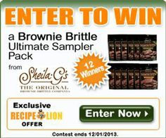 Enter to win the Brownie Brittle Ultimate Sampler Pack, including twelve 4-ounce bags of chocolate brownie treats!