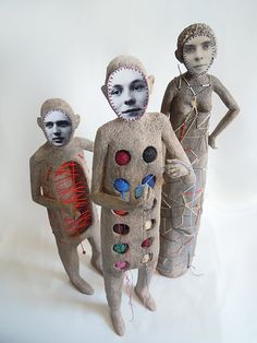 Artist Cecile Perra's embroidered puppets ( art doll / sculpture / mixed media / textile )
