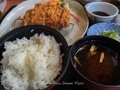 """ロースとんかつ or """"deep-fried pork loin"""" is a popular dish in Japan. This particular dish came with akadashi miso or red miso soup (赤だし味噌) a dip sauce and grated daikon. Washoku Sato is a chain store that serves typical Japanese cuisine.Did you know: Kyōtanabe was briefly the capital of Japan during the reign of Emperor Keitai (継体天皇). The life of the Imperial court was centred at Tsutsuki Palace where the emperor lived in 511–518."""