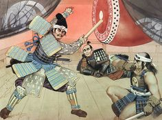 "Tadatsugu Sakai in Battle of Mikatagahara, 1573"" , Angus McBride . Tadtsugu Sakai beats a war drum at Hamamatsu castle to encourage the Tokugawa army retiring towards the castle."