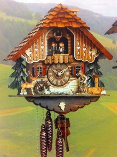 Cuckoo Kingdom - Chalet Cuckoo Clock, Moving Wood Chopper, Water Wheel, MT 695/9