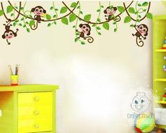 Underholdende wall sticker med aber i lianer
