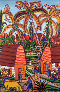 Village Scene Montas Antoine (Port-au-Prince, Haiti) Oil on board (24 x 16), c.1960