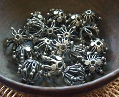 Old Indonesian Sterling Beads by thepeartreebrookline on Etsy