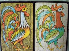2 Decks of Vintage Playing Cards- Colorful 60s Graphics- Roosters