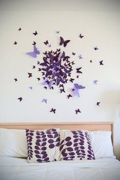 lilafarbene Papier Schmetterlinge in verschiedenen Größen