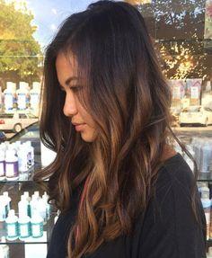 Image result for black hair caramel highlights