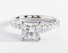 2 Carat Princess Cut Diamond in our Scalloped Pavé Diamond Engagement Ring | Blue Nile