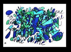 Tekenenopdracht: De leerlingen schrijven met een watervaste stift hun naam meerdere keren op een wit vel: door elkaar, op de kop etc. Het gaat er juist om dat de letters door elkaar komen te staan. Kies een schrijfstijl. Als het blad vol genoeg is, kies je drie of vier kleuren die je mooi vindt; natuurlijk kun je er ook voor kiezen om meer kleuren te gebruiken. Kleur alleen die vlakken in die helemaal omsloten zijn door zwarte lijnen en die dus niet in verbinding staan met de witte…