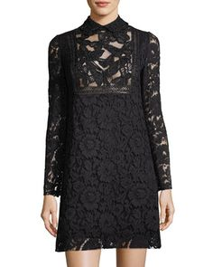 Butterfly+&+Floral+Lace+Minidress,+Black+by+Valentino+at+Neiman+Marcus.