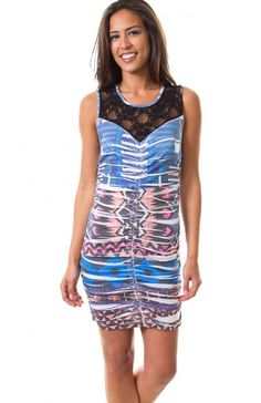 Round neck sleeveless geometric sublimation print bodycon dress featuring lace neckline with sweetheart lining, ruched details, and lace back. Very boho-chic dress to go clubing in!  $5.95