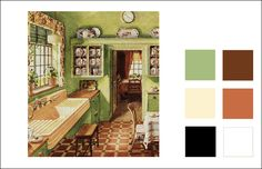 This kitchen might be called French Country now, but was considered a folk style back in 1929. We have matched the colors using the Historic Colour Collection by Miller Paint. The following colors are used (top to bottom, left to right): Venetian Green, Pale Organza, Black, Shaker Red, Clementine, White.