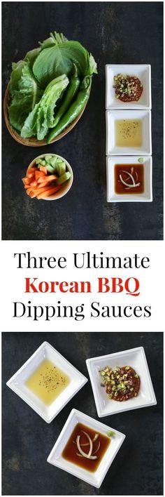 Three Ultimate Korean BBQ Dipping Sauces: #1: Ssamjang #2: Sesame Oil, Salt & Pepper Sauce #3: Wasabi & Soy Sauce | MyKoreanKitchen.com