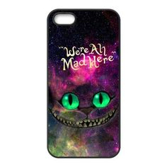 Nebula Galaxy Space Cheshire Cat Hard Rubber Phone Cover Case for iPhone 5,5S Cases